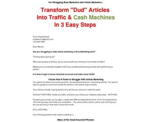 >For Struggling Bum Marketers and Article Marketers... Article Steroids