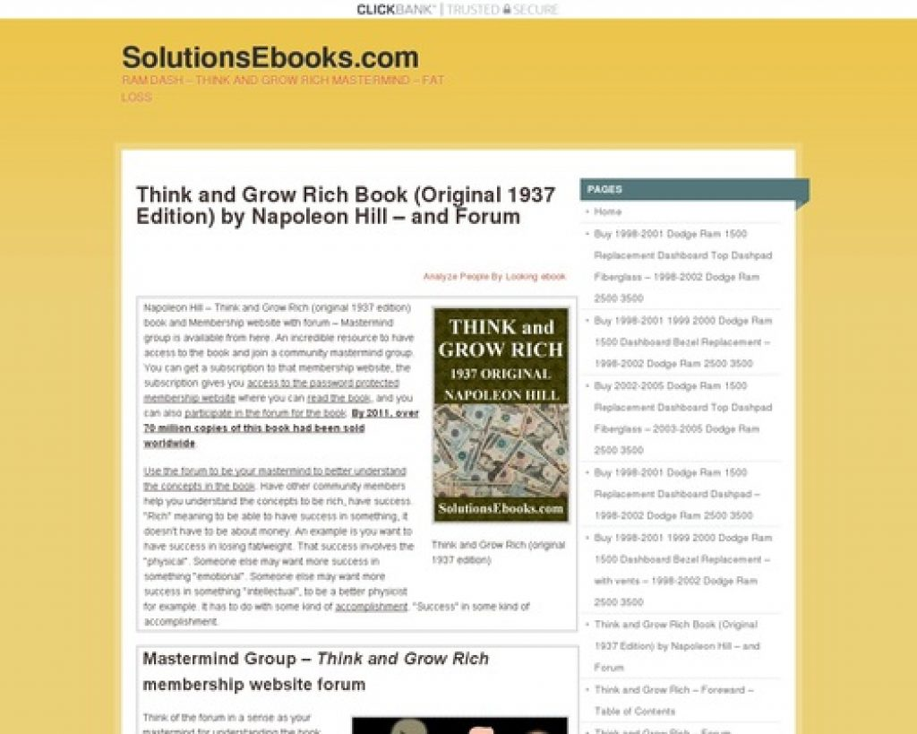 Think & Grow Rich (original 1937) Ebook - & Forum - Membership Website