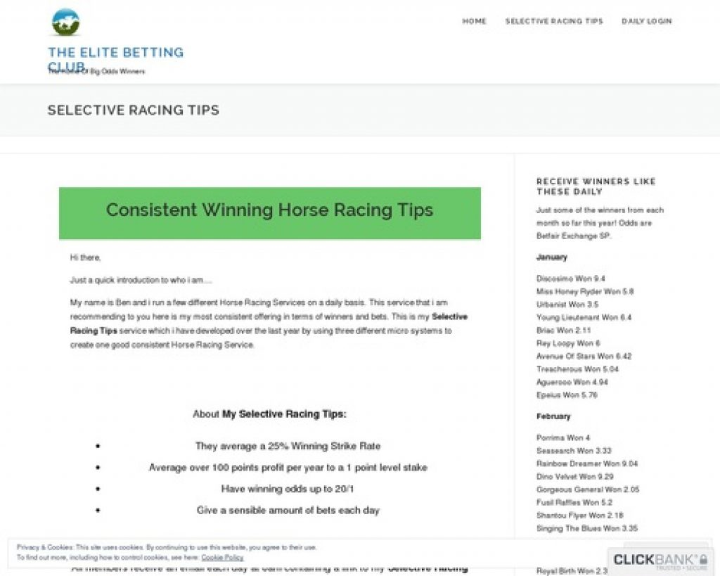 Selective Racing Tips - The Elite Betting Club Selective Racing Tips Membership