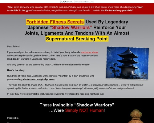 """Forbidden Fitness Secrets Used By Legendary Japanese """"Shadow Warriors"""" Reinforce Your Joints, Ligaments And Tendons With An Almost Supernatural Breaking Point"""