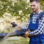 Gardener using leaf blower at garden